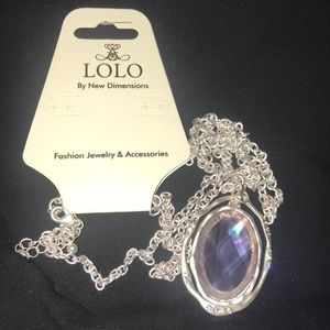 LOLO Long silver chain purple iridescent charm